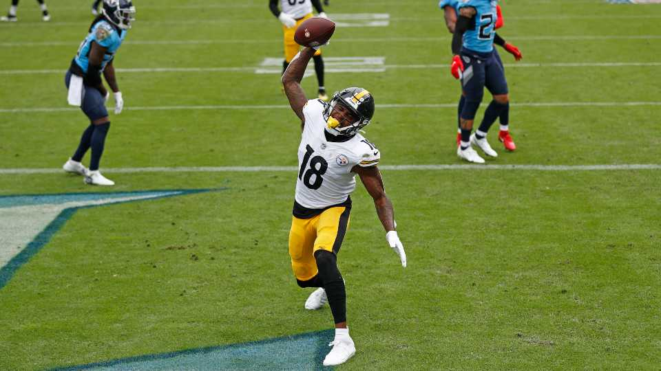 Pittsburgh Steelers wide receiver Diontae Johnson (18) celebrates after scoring a touchdown against the Tennessee Titans in the first half of an NFL football game Sunday, Oct. 25, 2020, in Nashville, Tenn.