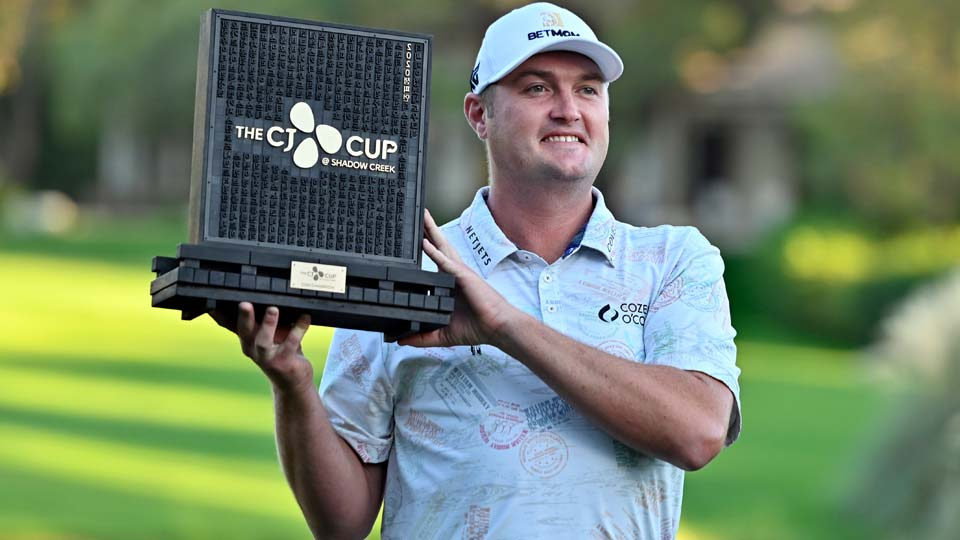 Jason Kokrak holds the championship trophy after winning the CJ Cup golf tournament at Shadow Creek Golf Course Sunday, Oct. 18, 2020, in North Las Vegas