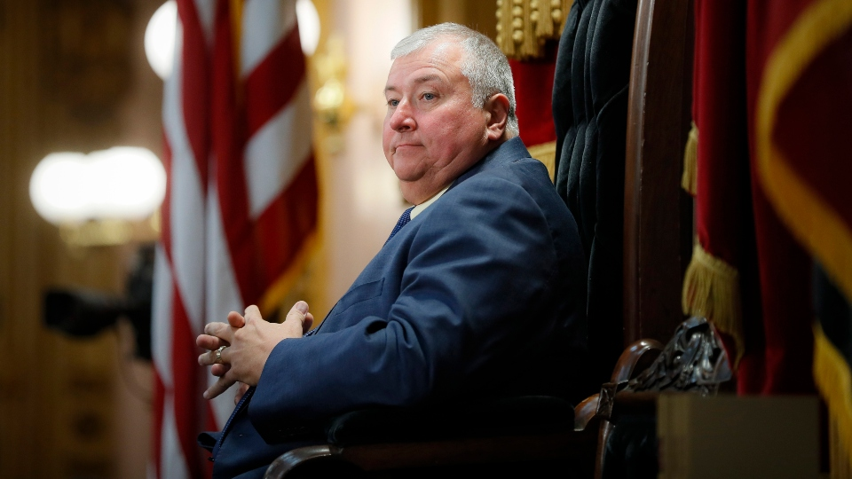 FILE - In this Oct. 30, 2019, file photo, Republican Ohio state Rep. Larry Householder sits at the head of a legislative session as Speaker of the House, in Columbus. Householder's name will be on the ballot Nov. 3, 2020, as the disgraced lawmaker intends to serve his district for another term despite facing federal bribery charges for his alleged involvement in a $60 million bribery scheme that shook the Statehouse this summer and led his party to remove him from the House speaker role.