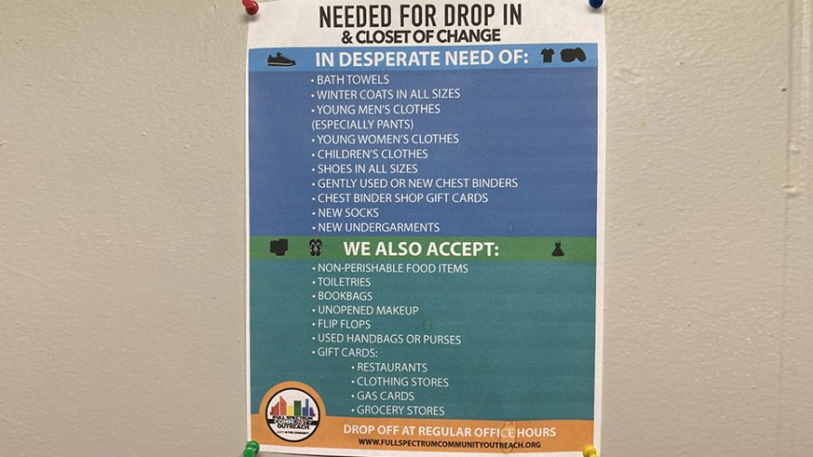 Donations taken by Full Spectrum Outreach Community Center for the LGBTQIA+ community in the Mahoning Valley.