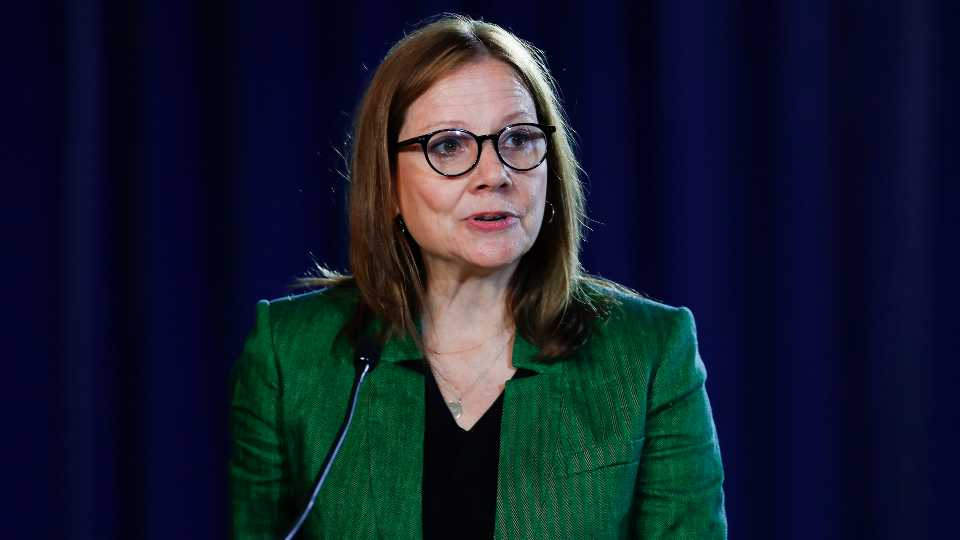 FILE - In this July 16, 2019, file photo General Motors Chairman and Chief Executive Officer Mary Barra speaks during the opening of their contract talks with the United Auto Workers in Detroit.