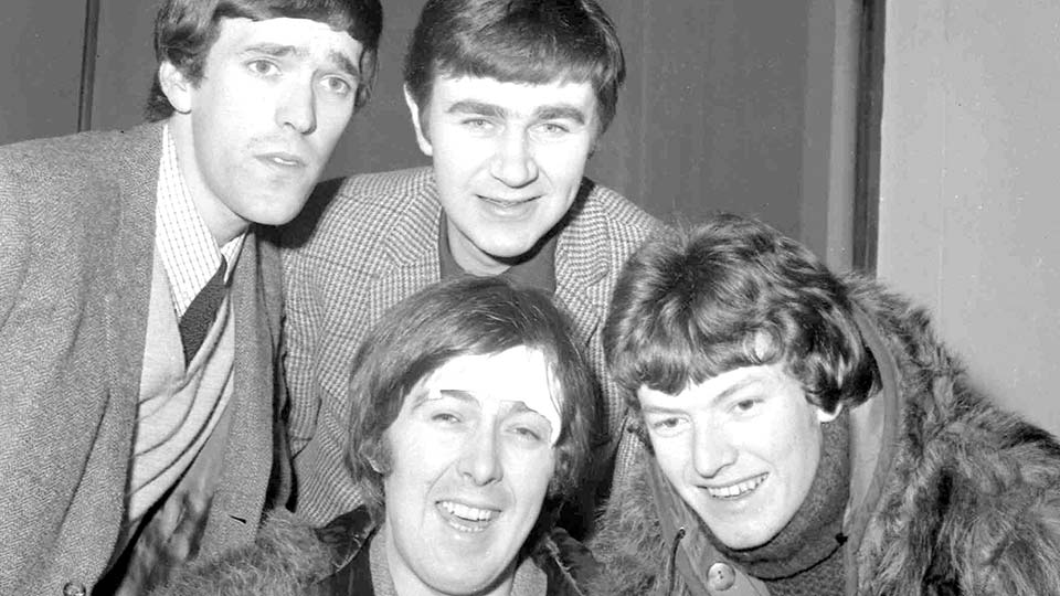 Spencer Davis Group, from top left: Muff Winwood, Pete York and Steve Winwood and Spencer Davis