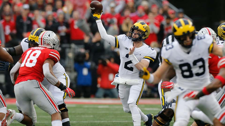 Michigan quarterback Shea Patterson throws a pass against Ohio State