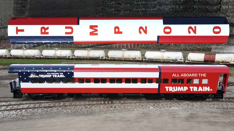 A railroad car painted to bring awareness to President Trump. photo taken by Bob Jadloski
