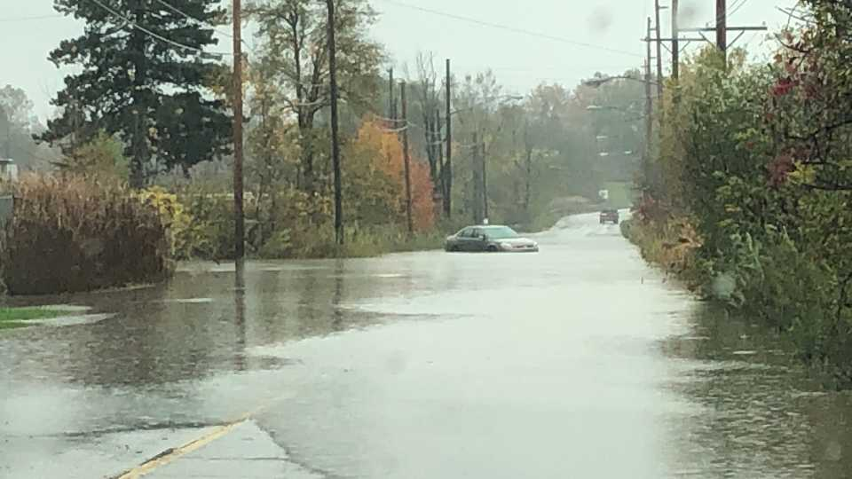 Pine Avenue in Warren flooded again due to heavy rains.