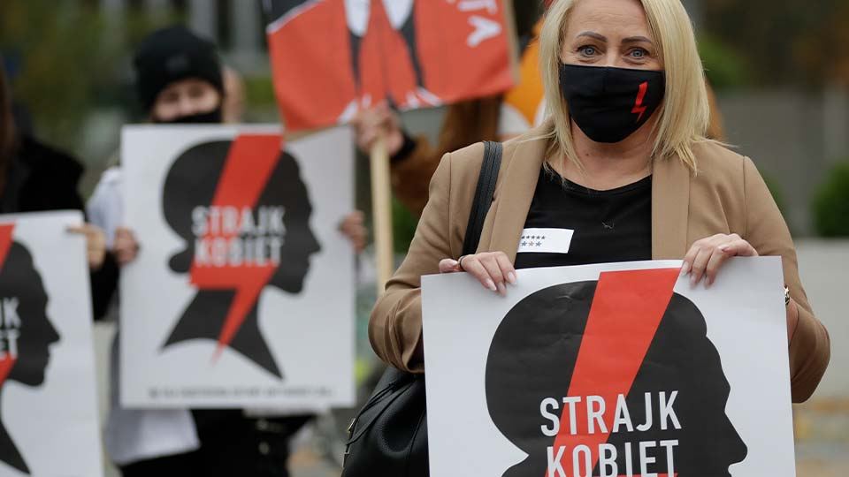 Women's Strike action protest against recent tightening of Poland's restrictive abortion law