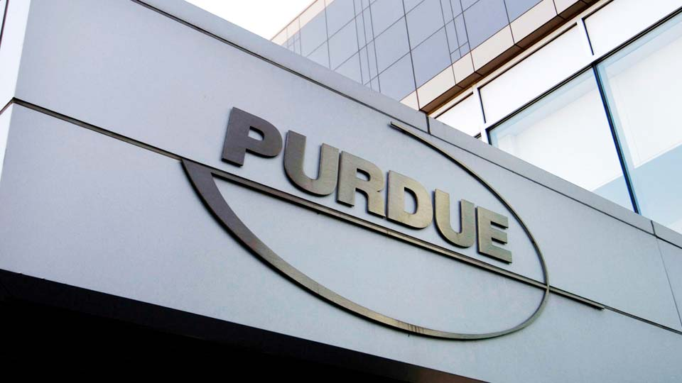 Purdue Pharma logo at its offices in Stamford, Conn.