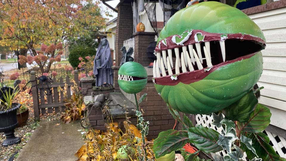 Halloween decorations at a home on Wilson Street in Struthers