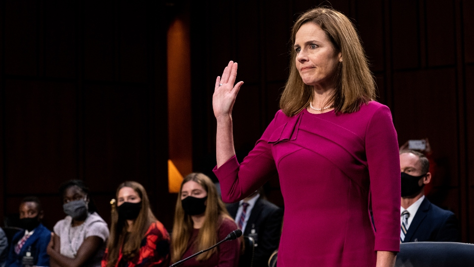 Supreme Court nominee Amy Coney Barrett is sworn in during her Senate Judiciary Committee confirmation hearing on Capitol Hill in Washington, Monday, Oct. 12, 2020.