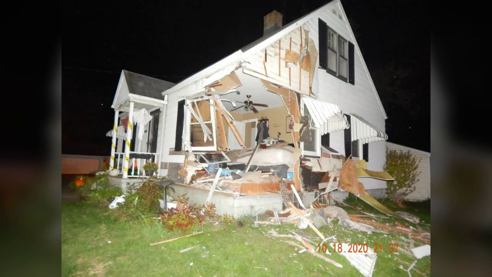 Police in Canton Township say the driver of a car crashed into a home, and injured a teen.