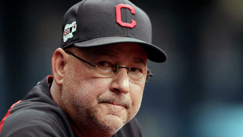 FILE - In this Sept. 1, 2019, file photo, Cleveland Indians manager Terry Francona watches during the first inning of a baseball game against the Tampa Bay Rays in St. Petersburg, Fla. The Cleveland Indians expect manager Terry Francona to return for the 2021 season after he missed 47 games this season due to health reasons. Team president Chris Antonetti said Tuesday, Oct. 6, 2020, that the 61-year Francona is back home in Arizona resting and recovering. Francona was hospitalized this season after undergoing surgery for a gastrointestinal issue and then dealing with blood clotting complications