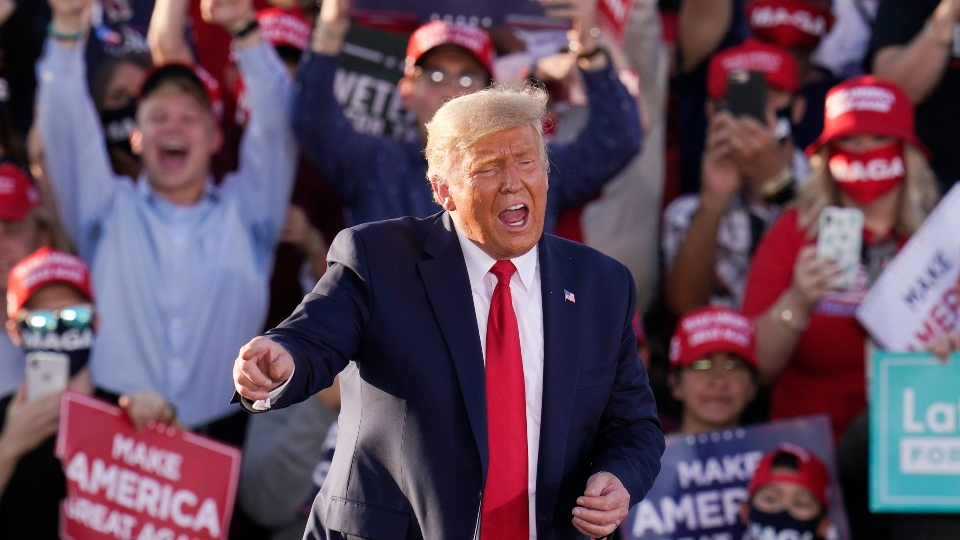 President Donald Trump works the crowd after speaking at a campaign rally Monday, Oct. 19, 2020, in Tucson, Ariz.