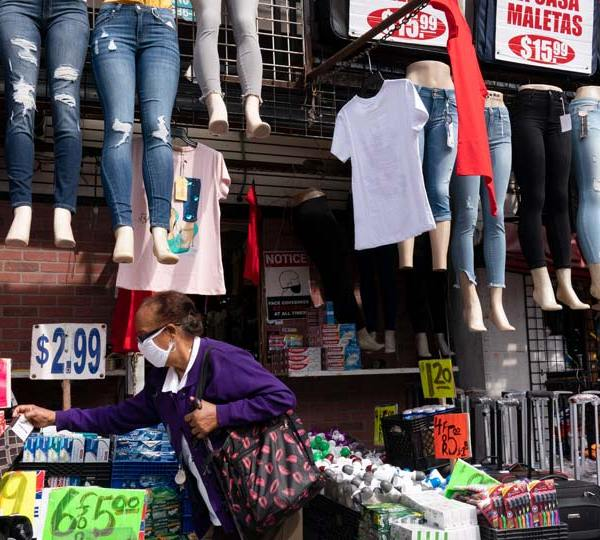Woman shops at a clothing store in New York