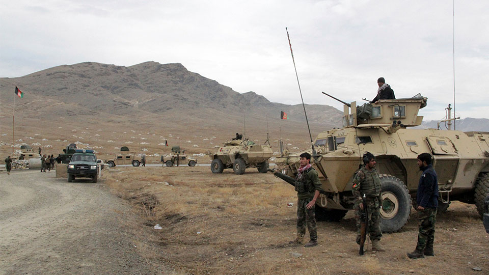 Afghan national army soldiers at the site of suicide bombing Ghazni