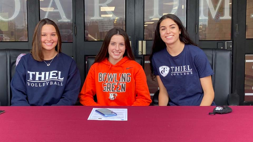 Maria Torres (Volleyball) Thiel. Raegan Burkey (Track and CC) at Bowling Green and Katie Stamp (Volleyball) Thiel.