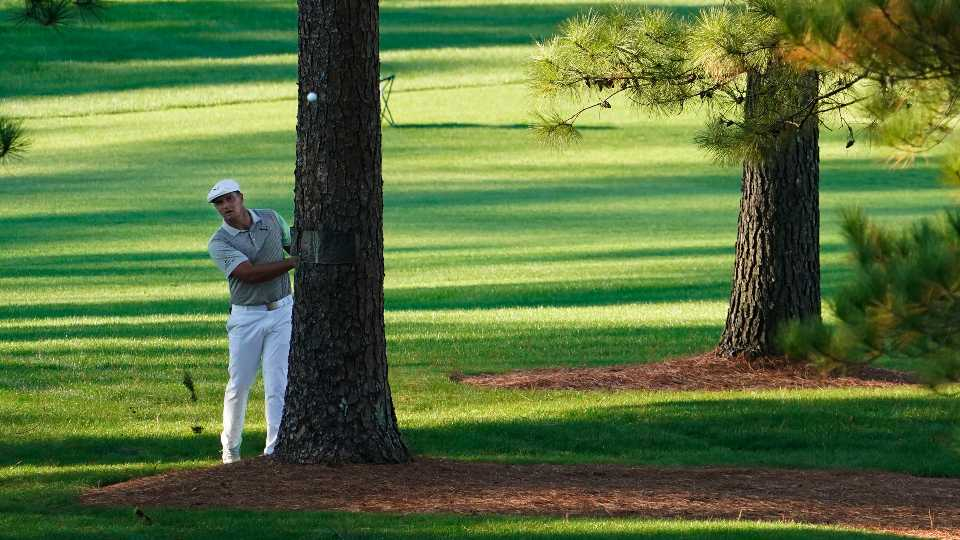 Bryson DeChambeau hits out of the rough on the seventh hole during the second round of the Masters golf tournament Friday, Nov. 13, 2020, in Augusta, Ga. (
