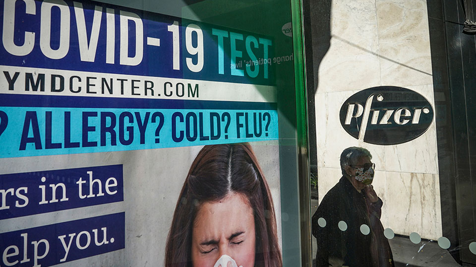 bus stop ad Pfizer New York City