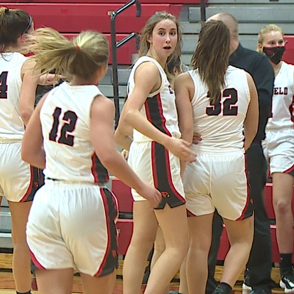 Canfield junior Alyssa Dill scored a game-high 16 points for the Cardinals in a 48-31 over the Warriors Tuesday