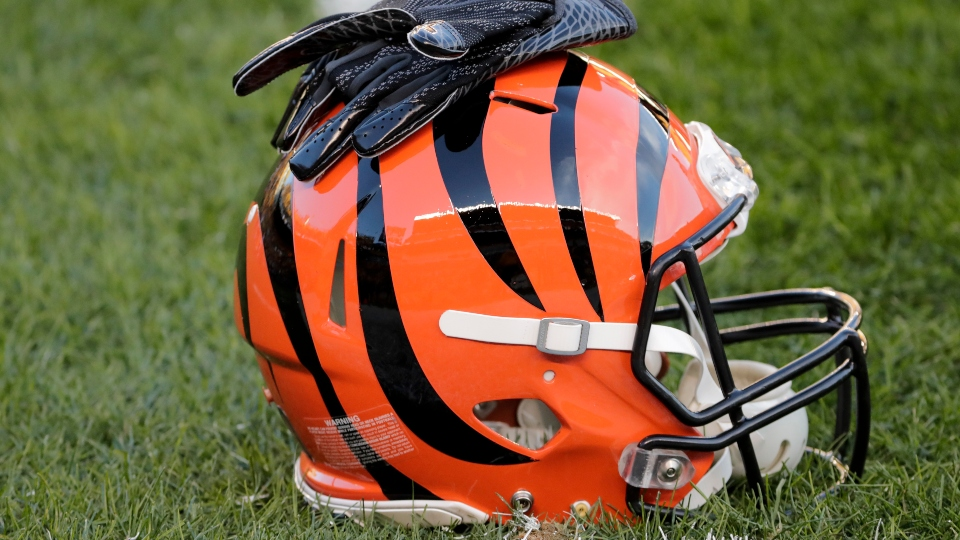 A Cincinnati Bengals helmet on the field during an NFL football game against the Pittsburgh Steelers, Sunday, Dec. 30, 2018, in Pittsburgh.
