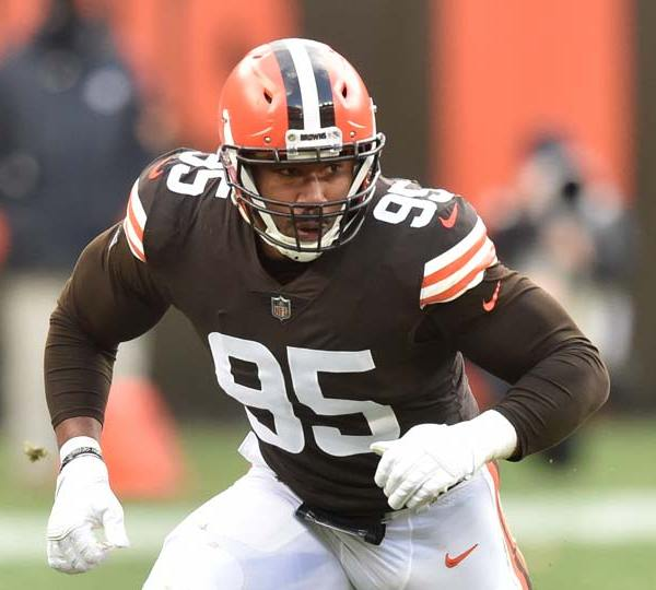 Cleveland Browns defensive end Myles Garrett rushes the passer during an NFL football game