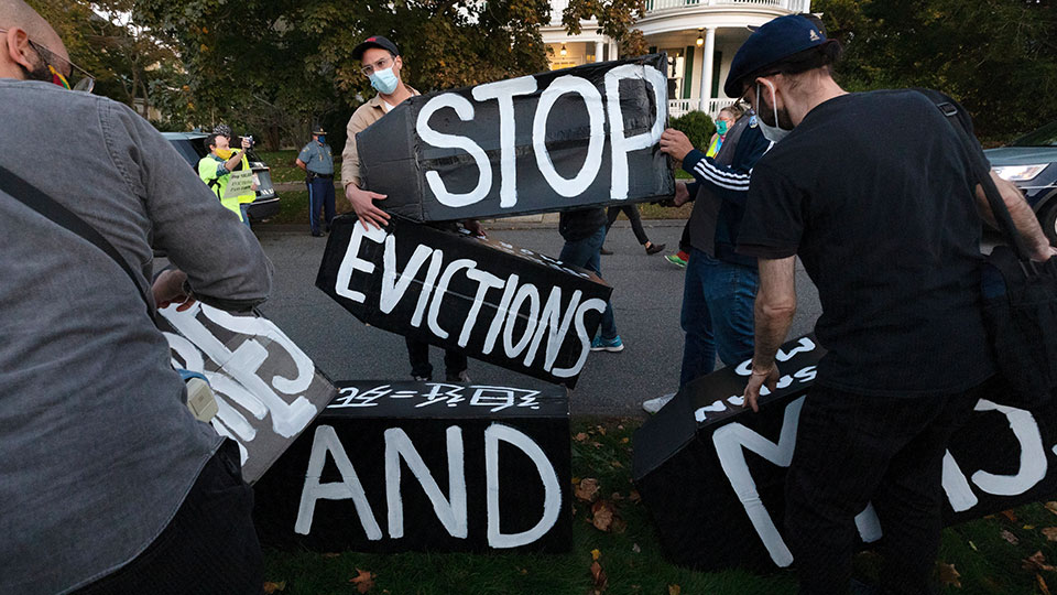 housing activists protest outside Massachusetts governor's home