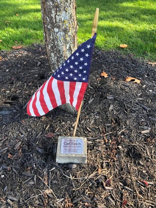 Sharon High School veterans flags