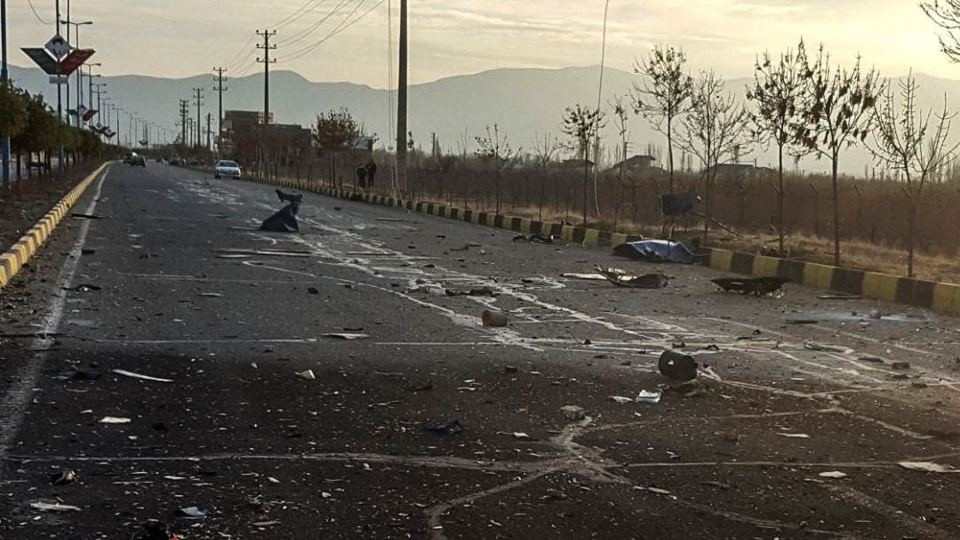 "This photo released by the semi-official Fars News Agency shows the scene where Mohsen Fakhrizadeh was killed in Absard, a small city just east of the capital, Tehran, Iran, Friday, Nov. 27, 2020. Fakhrizadeh, an Iranian scientist that Israel alleged led the Islamic Republic's military nuclear program until its disbanding in the early 2000s was ""assassinated"" Friday, state television said."