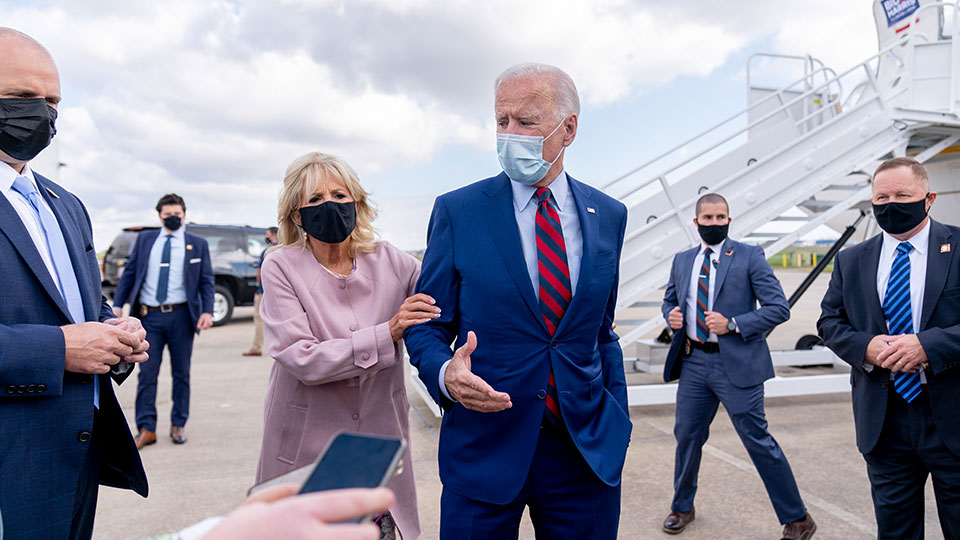 Jill and Joe Biden, New Castle Airport, Delaware