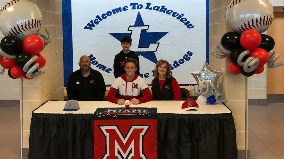 Nicholas DeMonica, a senior at Lakeview High School, signed a national letter of intent today, committing to play for the Miami University RedHawks
