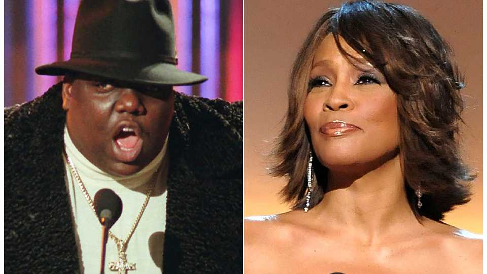 This combination photo shows Notorious B.I.G., who won rap artist and rap single of the year, during the annual Billboard Music Awards in New York on Dec. 6, 1995, left, and singer Whitney Houston at the BET Honors in Washington on Jan. 17, 2009. Houston and the Notorious B.I.G. are among the inductees to the Rock and Roll Hall of Fame's 2020 class.