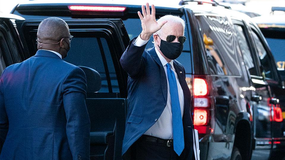 President-elect Joe Biden waves to crowd