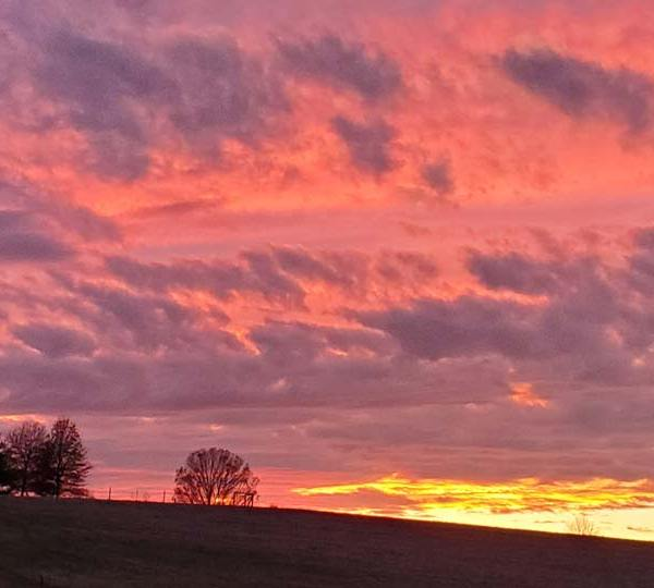Sunset on the farm in Unity Township by Marilyn