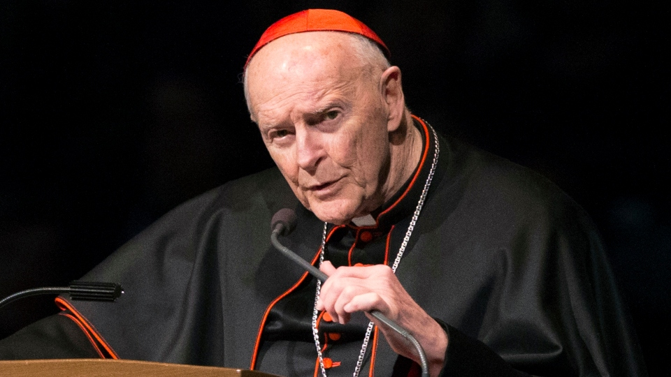 In this March 4, 2015, file photo, Cardinal Theodore McCarrick speaks during a memorial service in South Bend, Ind.