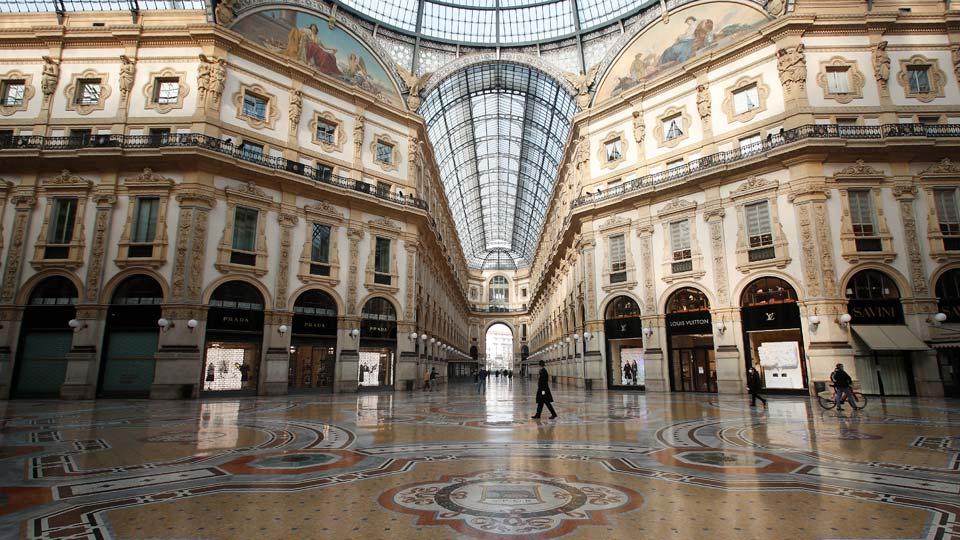 Vittorio Emanuele II gallery shopping arcade in downtown Milan, Italy, Friday, Nov. 6, 2020
