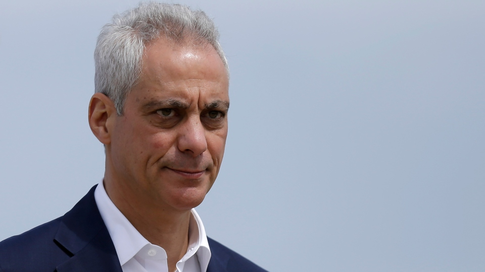 In this April 22, 2019, file photo, Chicago Mayor Rahm Emanuel waves as he arrives at a news conference outside of the south air traffic control tower at O'Hare International Airport in Chicago.