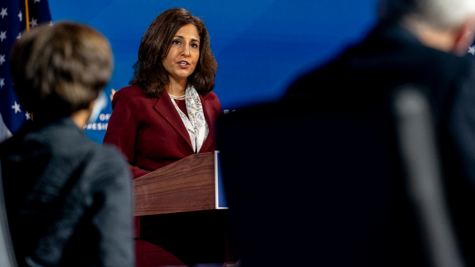 Neera Tanden who President-elect Joe Biden nominated to serve as Director of the Office of Management and Budget, speaks at The Queen theater, Tuesday, Dec. 1, 2020, in Wilmington, Del.