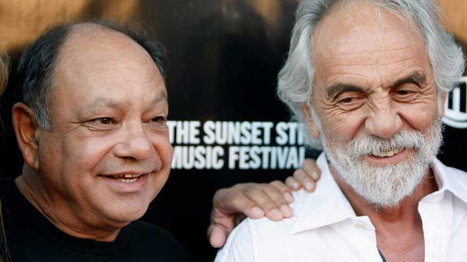 """**FILE** In this June 26, 2008 file photo, Cheech Marin, left, and Tommy Chong pose together at Sunset Strip Music Festival opening night tribute event in Los Angeles. Now that their feud is up in smoke, Cheech and Chong are high on plans to reunite for their first comedy tour in more than 25 years. Cheech Marin told AP Radio that he and Tommy Chong """"looked at each other going, `If we're ever going to do something it has to be now because you're not getting any younger and neither am I.'"""""""