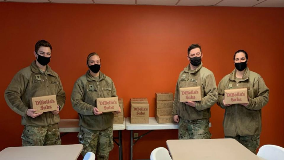 Volunteers at Mahoning Valley Second Harvest Food Bank were treated Monday to a free lunch by Dibella's Subs.