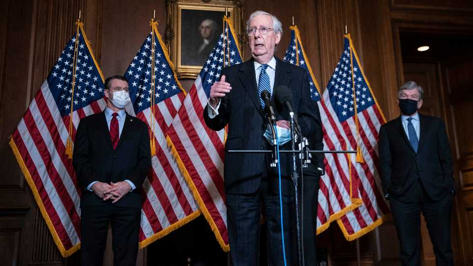 Senate Majority Leader Mitch McConnell of Kentucky, speaks during a news conference following a weekly meeting with the Senate Republican caucus, Tuesday, Dec. 8. 2020 at the Capitol in Washington.