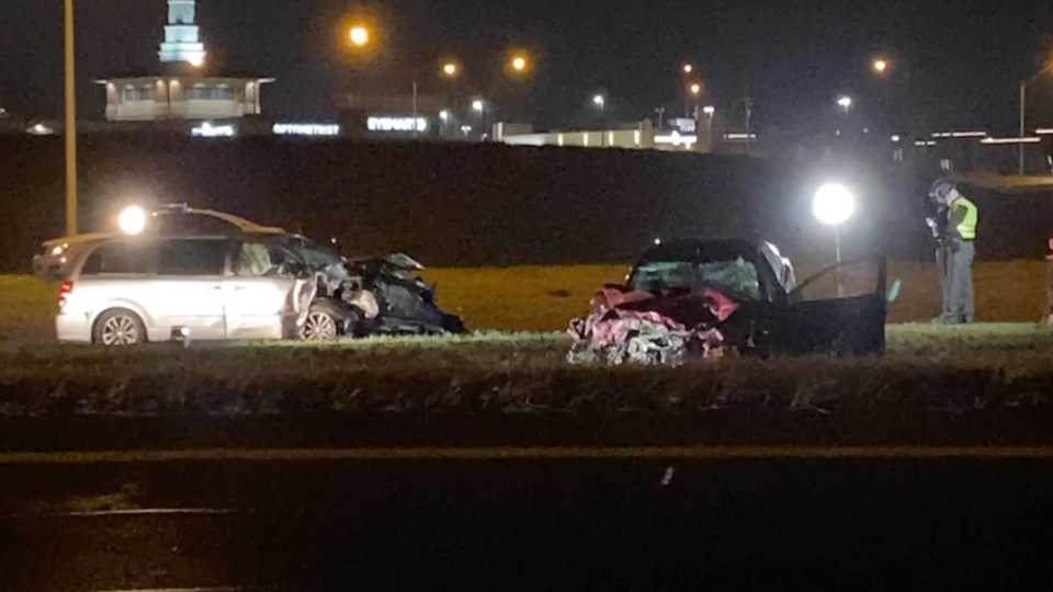 A portion of Interstate 680 north is blocked after a head-on crash before the US-224 exit.