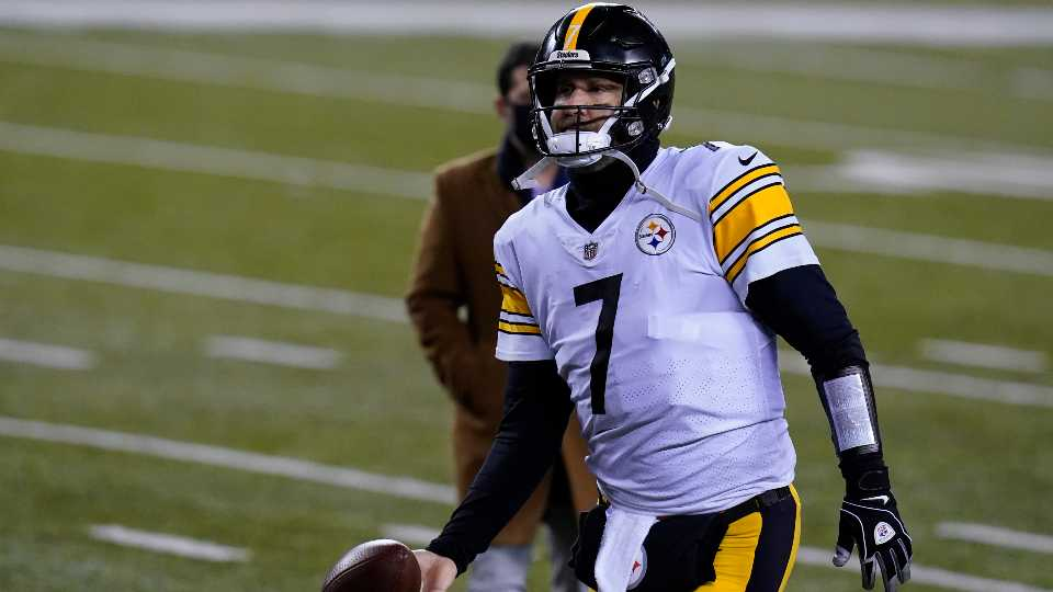 Pittsburgh Steelers' Ben Roethlisberger (7) tosses the ball as he leaves the field following an NFL football game against the Cincinnati Bengals, Monday, Dec. 21, 2020, in Cincinnat