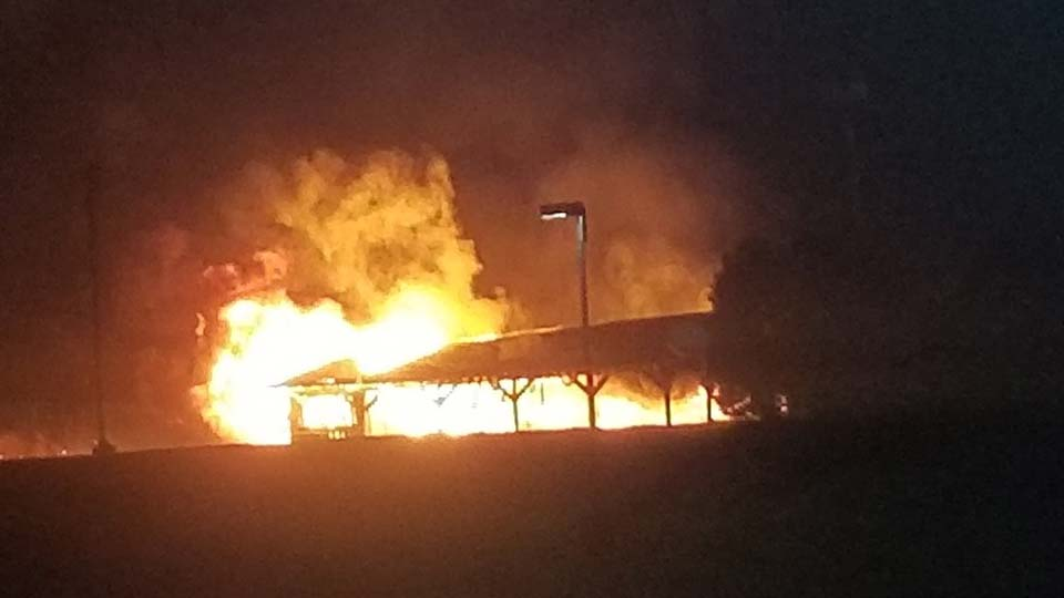 A fire early Sunday morning destroyed the pavilion behind St. Charles Church Catholic in Boardman.