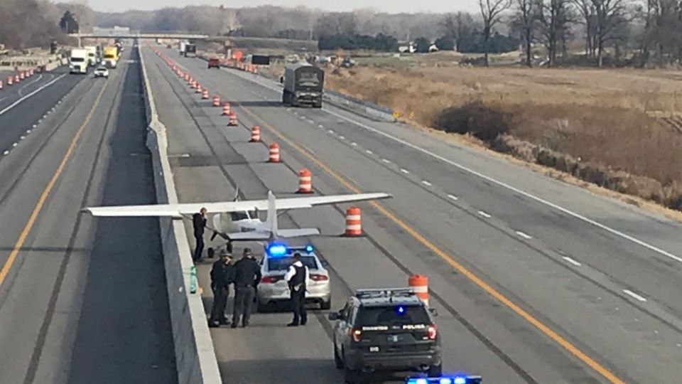 A pilot made an emergency landing on the Ohio Turnpike Friday.