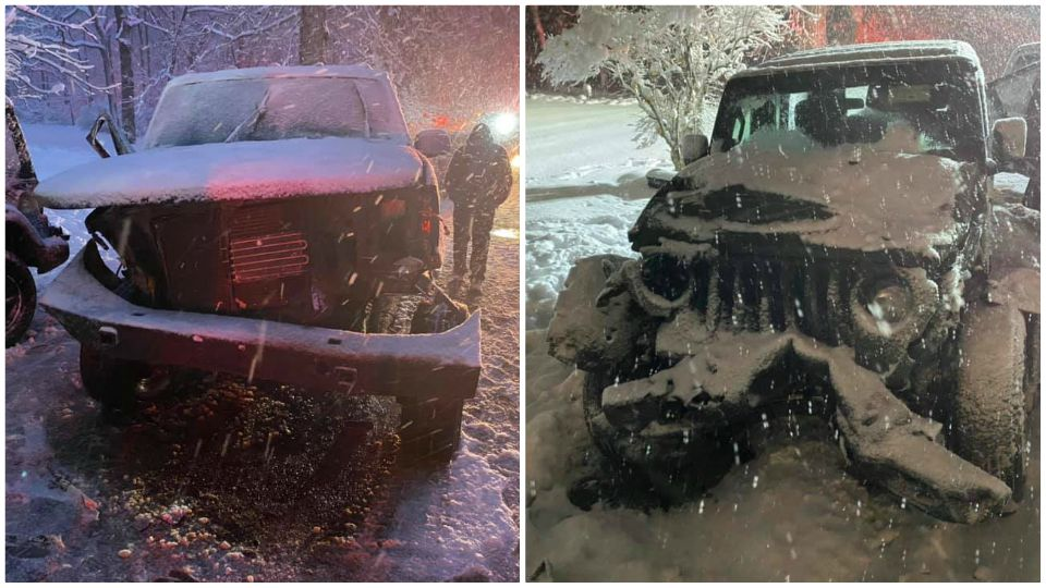 Two people were injured Tuesday after a pickup truck and SUV crashed in Vienna Township.