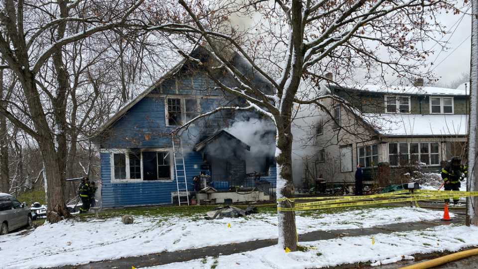 Firefighters are battling a blaze at a 220 Pasadena Ave. home on Youngstown's south side.