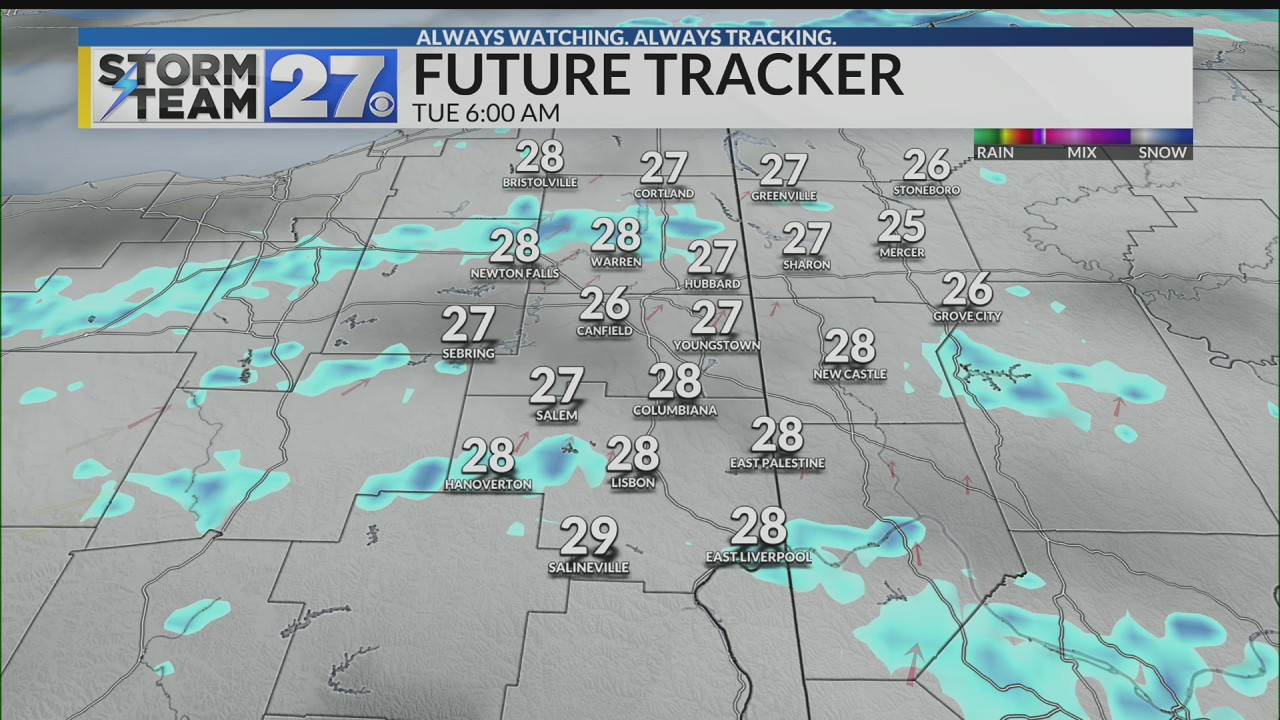 Light snow showers or flurries through early morning