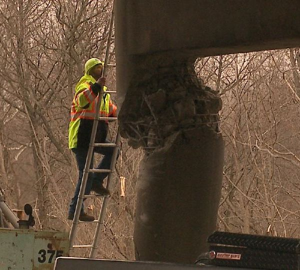 Engineers were back out Wednesday, working to repair the Mahoning Avenue bridge after Monday's incident when an SUV and flatbed truck collided, sending a coil from the flatbed into the bridge.