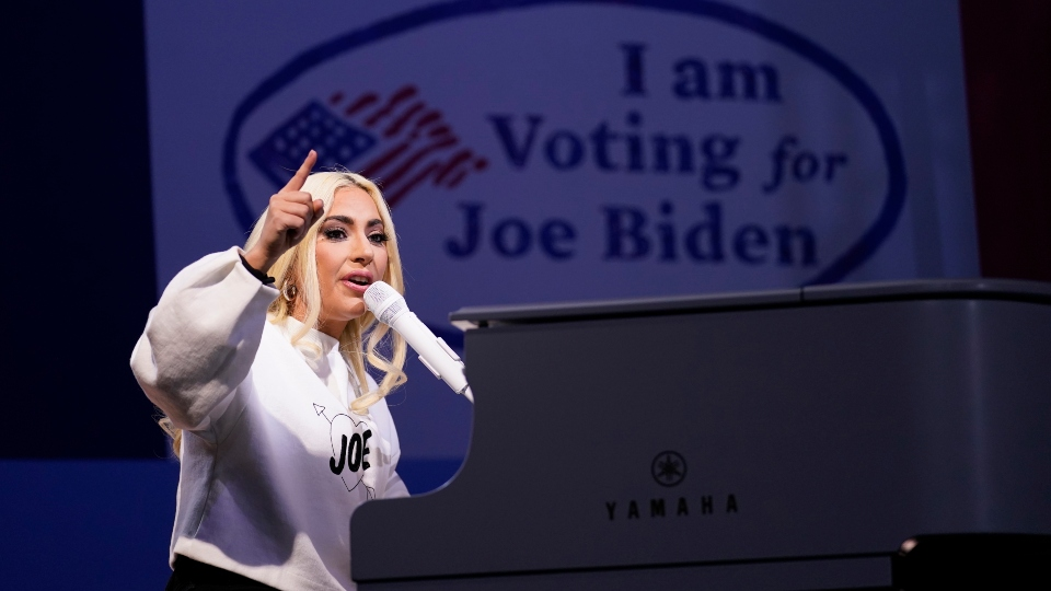 In this Nov. 2, 2020 file photo, Lady Gaga performs during a drive-in rally for then Democratic presidential candidate former Vice President Joe Biden at Heinz Field in Pittsburgh.