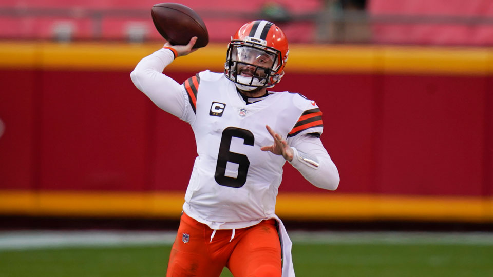 Cleveland Browns quarterback Baker Mayfield (6) throws a pass during the first half of an NFL divisional round football game against the Kansas City Chiefs, Sunday, Jan. 17, 2021
