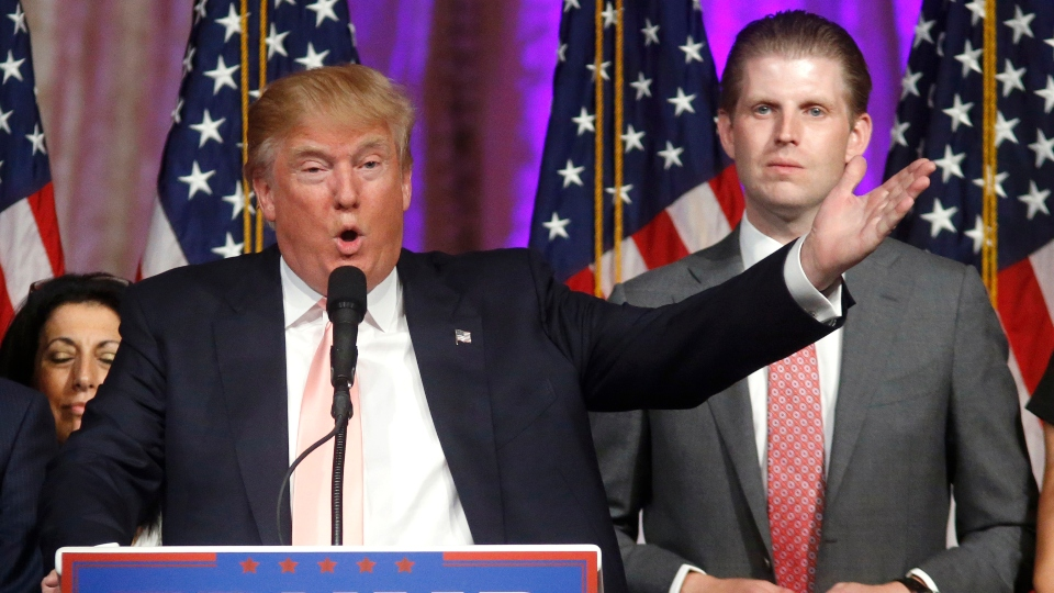 In this Tuesday, March 15, 2016, file photo, Republican presidential candidate Donald Trump speaks to supporters at his primary election night event at his Mar-a-Lago Club in Palm Beach, Fla.